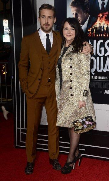 "Ryan Gosling and mom Donna strike a pose on the red carpet at the world premiere of ""Gangster Squad."""