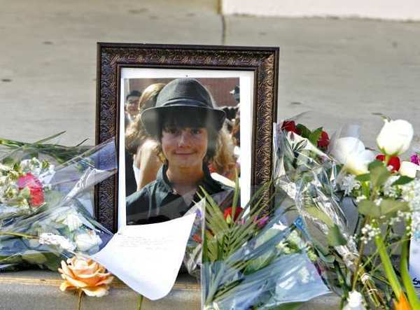 A memorial with a portrait of Drew Ferraro at Crescenta Valley High School on Tuesday, February 14, 2012.