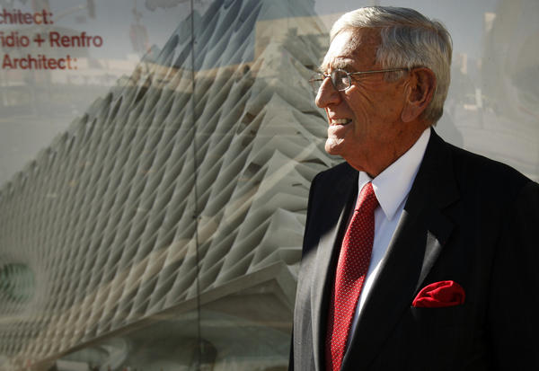 "Philanthropist Eli Broad attends a ""topping out""  ceremony recognizing the placement of steel beams framing the downtown Los Angeles structure that will become the Broad, a contemporary art museum."