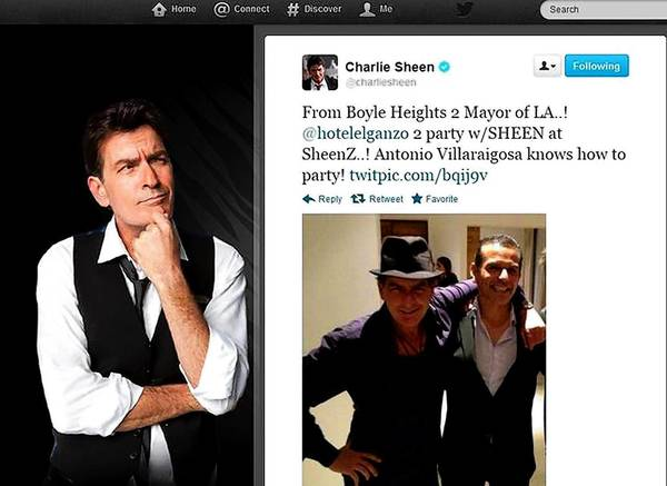Charlie Sheen tweeted this picture of himself with his arm around L.A. Mayor Antonio Villaraigosa at the opening of Sheen's bar in Baja California, Mexico, last month.