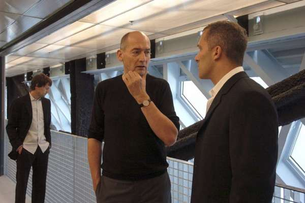 Rem Koolhaas, left, and Joshua Ramus of the Office for Metropolitan Architecture at the Central Library in Seattle in 2004.