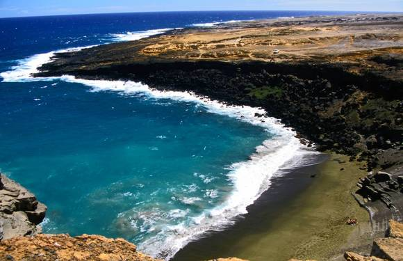 Mahana Beach on the Big Island, also called Green Sands Beach because it has a distinctive golden green colour