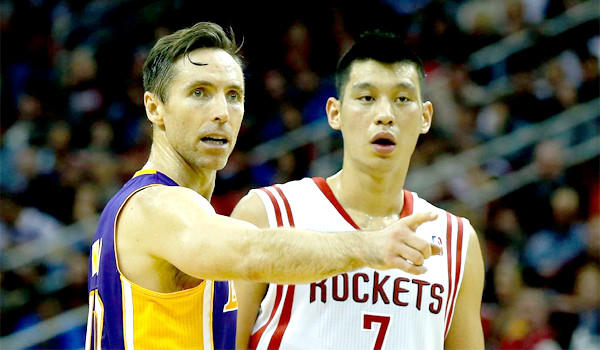 Lakers point guard Steve Nash with the Rockets' Jeremy Lin. The Lakers are only three losses behind the eighth-seeded Houston Rockets.