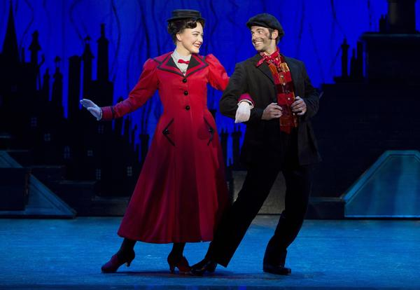 "Madeline Trumble and Con O'Shea-Creal prepare to ""Step in Time"" in ""Mary Poppins."""