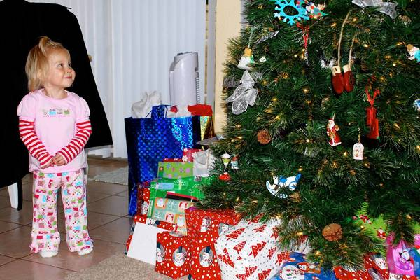 Hailey Mayz Vassilaros, 3, the daughter of Emmaus native Sean Vassilaros, enjoys Christmas in California before her life was taken by TEF (tracheo-esophageal fistula). In June, a footrace in the Trexlertown area will raise funds for the Hailey Mayz Foundation.