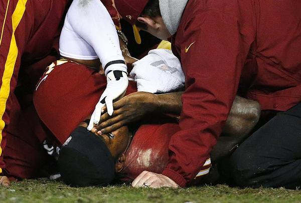 Robert Griffin III after reinjuring his knee Sunday.
