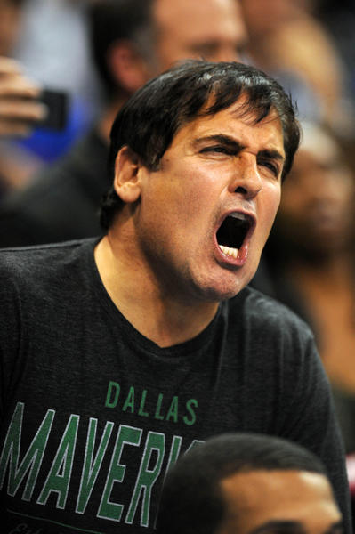 Dallas Mavericks owner Mark Cuban reacts during a game against the Oklahoma City Thunder.