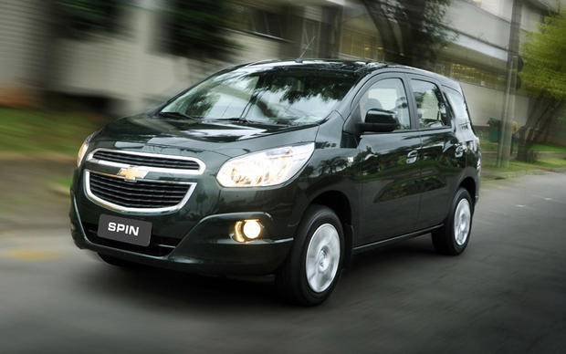 The Spin is a compact, four-door minivan made in Indonesia for sale in that country and Thailand. Chevy says the seven-passenger Spin was designed with the urban confines of these countries in mind.