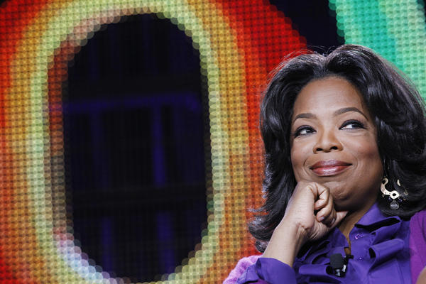 Oprah Winfrey attends a panel during the Oprah Winfrey Network (OWN) Television Critics Association winter press tour in Pasadena, Calif.