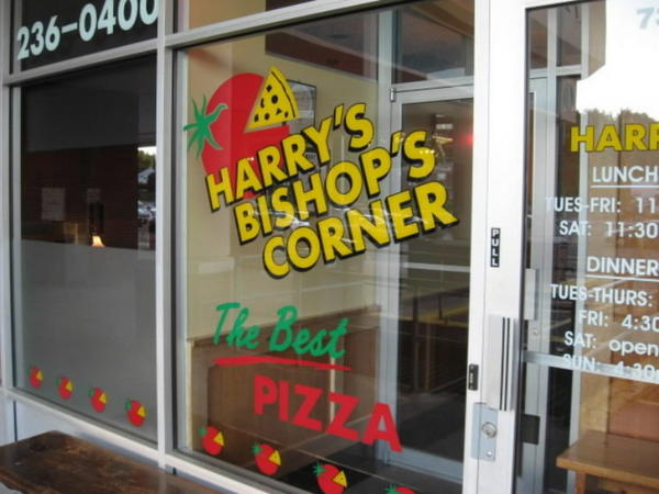 Harry's Bishops Corner was started by Harry Rufleth. Rufleth brought the thin crust Neopolitan style pizza to West Hartford from Pepe's Pizza in New Haven, where he once worked, initially opening Harry's Pizza in West Hartford Center with his ex-wife Barbara Lang, and her first husband Mark Mahoney. Rufleth says he continued to make refinements to the Pepe's inspired pie over the years. He retired in 2007, turning the restaurant over to longtime employees Kevin and Anne Plaut.