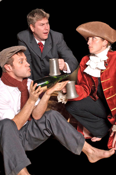 """From left, Rob Tucker, John Halmi and Christina Enoch Kemmerer star in the Colonial Players' production of """"Shipwrecked,"""" on stage Jan. 11-16."""