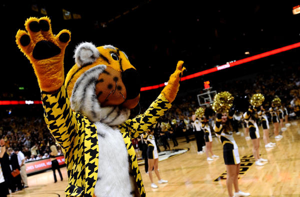 Missouri Tigers mascot Truman the Tiger performs the Missouri waltz during the second half against the Alabama Crimson Tide