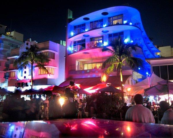 Nighttime scenes from the art deco district on Ocean Ave. at South Beach, in Miami Beach, Fla., Sunday, Jan. 6, 2013.
