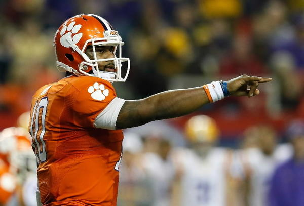 Tajh Boyd #10 of the Clemson Tigers points to the LSU Tigers defense during the 2012 Chick-fil-A Bowl at Georgia Dome on December 31, 2012 in Atlanta, Georgia. (Photo by Kevin C. Cox/Getty Images)