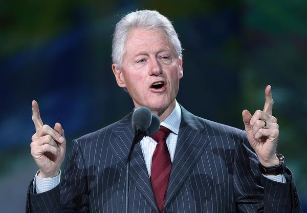 Former U.S. President Bill Clinton speaks during a Samsung keynote address.