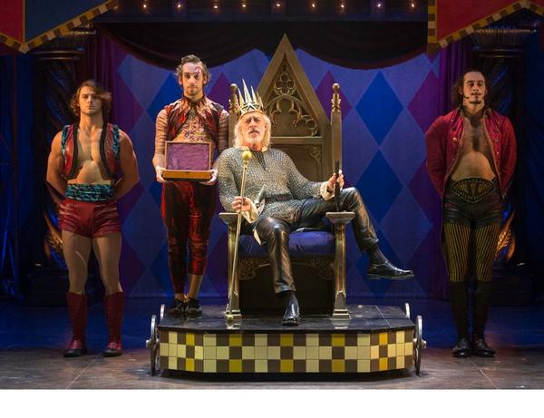 "Terrence Man (center) as Charles in the Broadway-bound revival of ""Pippin,"" trying out at the American Repertory Theatre in Cambridge, Mass."