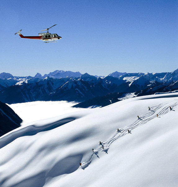 "The Columbia Mountains, in southeast British Columbia, are popular with heli-skiers who crave ""champagne powder."""