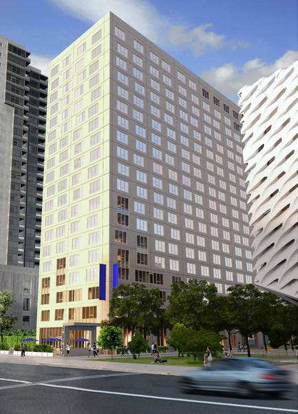 "A rendering of the apartment tower to be built next to the Broad art museum on Grand Avenue. A Related Cos. executive said the high-rise would be ""simple and elegant, not fancy and extravagant,"" so as not to compete with the museum and Disney Concert Hall."