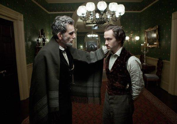 "Daniel Day-Lewis, left, and Joseph Gordon-Levitt in ""Lincoln."""