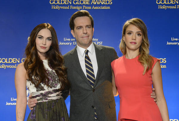 Megan Fox, Ed Helms and Jessica Alba  pose for photographers at the announcement of nominations for the 70th annual Golden Globe Awards.