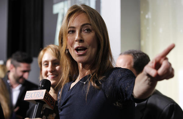 """Director Kathryn Bigelow is interviewed at the premiere of """"Zero Dark Thirty"""" at the Dolby theatre in Hollywood."""