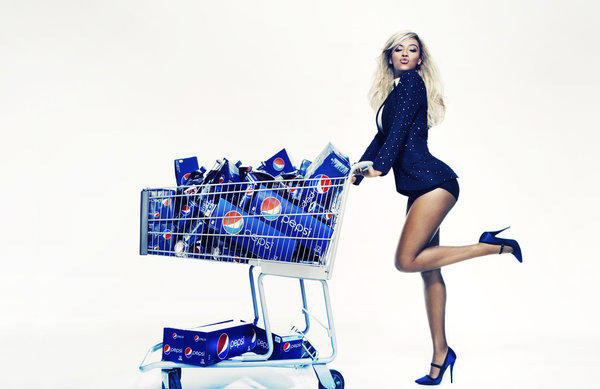 A publicity photo provided by Pepsi shows Beyonce during a Pepsi Print photo shoot at Canoe Studios in New York.