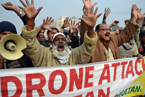 Pakistanis protest against U.S. drone attacks.