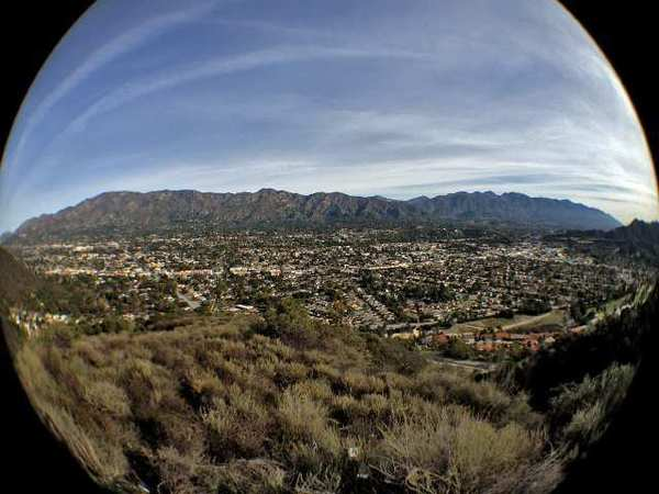A fish-eye lens view of Glendale, La Crescenta and the San Gabriel Mountains from the Verdugo Mountains in Glendale.