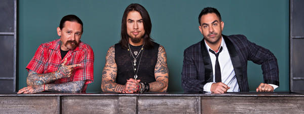 "Tattoo artist Oliver Peck (from left), host Dave Navarro and tattoo artist Chris Nunez were judges for Season 2 of Spike's ""Ink Master."""
