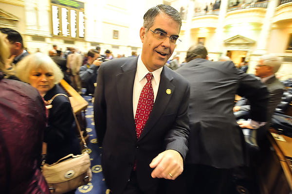 Andrew Serafini, R-Washington, and the chair of the Washington County delegation, whisks his way across the House of Delegates floor Wednesday on opening day of the Maryland General Assembly.