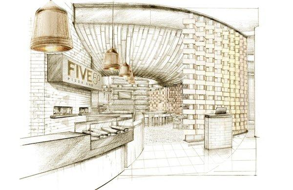 An artist's rendering of the FIVE50 pizzeria that's to open in Aria in Las Vegas.