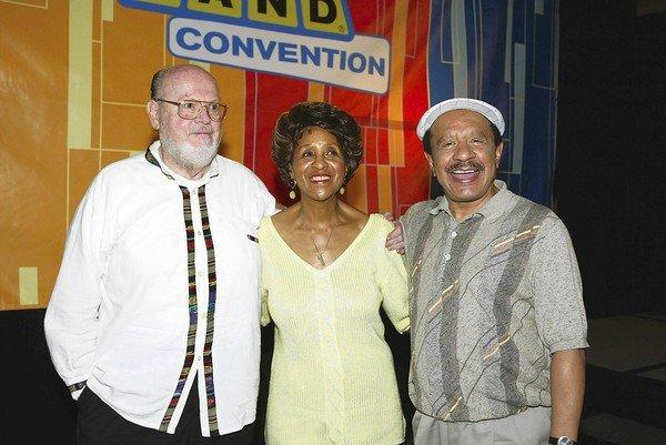 "Actor Ned Wertimer, left, who played Ralph the doorman on ""The Jeffersons,"" poses with Marla Gibbs and Sherman Hemsley in 2003."