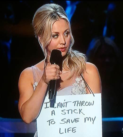 2013 People's Choice Awards: Best and worst moments: In a really cute PSA about not shaming your poor dog on the internet when he or she does something naughty, Kaley Cuoco cracked, Lets leave public shaming where it belongs -- with the Kardashians. Ooooh. They must not be there tonight.   -- Andrea Reiher, Zap2it