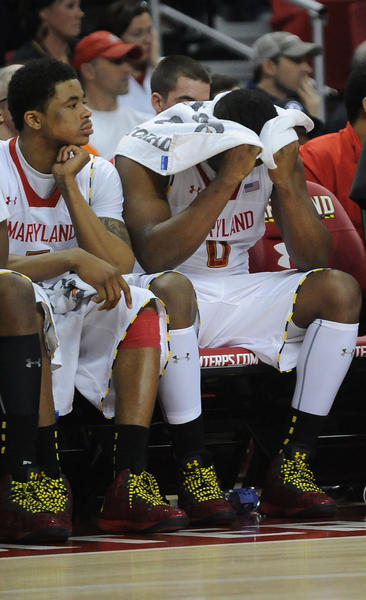 Maryland's Nick Faust and Charles Mitchell watch as their 13-point lead vanishes with poor shooting in the second half.