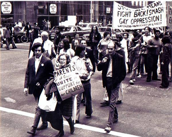 Jeanne Manford and her son Morty, left, are shown at a 1972 march for gay rights in New York City.