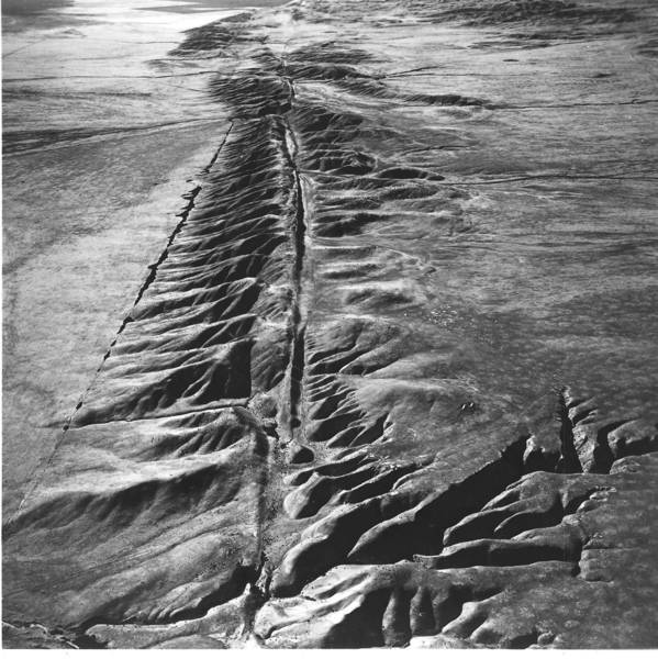 Scientists have long assumed that a mega-quake along the San Andreas fault, a section of which is shown here, that could be felt from San Diego to San Francisco was widely considered impossible. But a new study suggests otherwise.