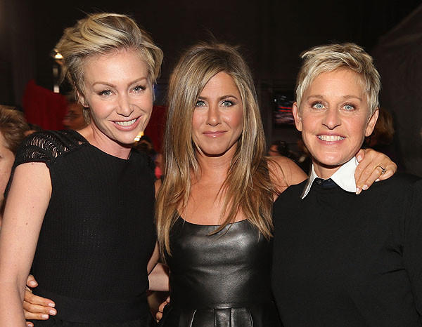Actors Portia de Rossi and Jennifer Aniston and TV personality Ellen DeGeneres.