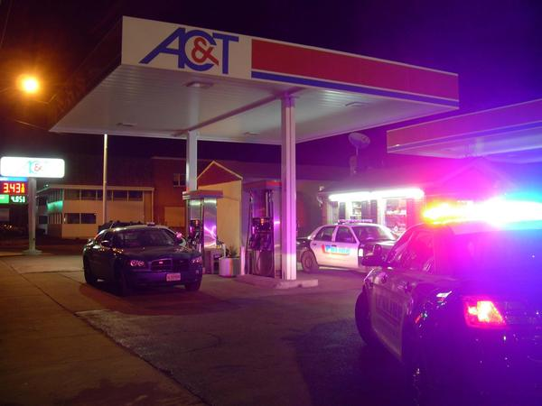 An employee was struck in the leg with a wooden club during a robbery at the AC&T gas station at 724 Frederick St., Wednesday night.