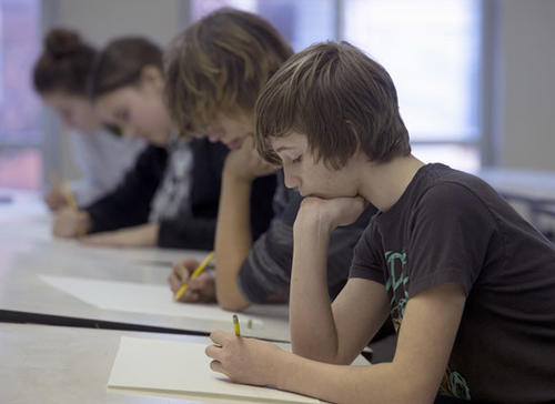 Baum School students learn drawing from Chuck Vlasics in the Teenage Scholarship program at the Baum School of Art in Allentown on Tuesday.