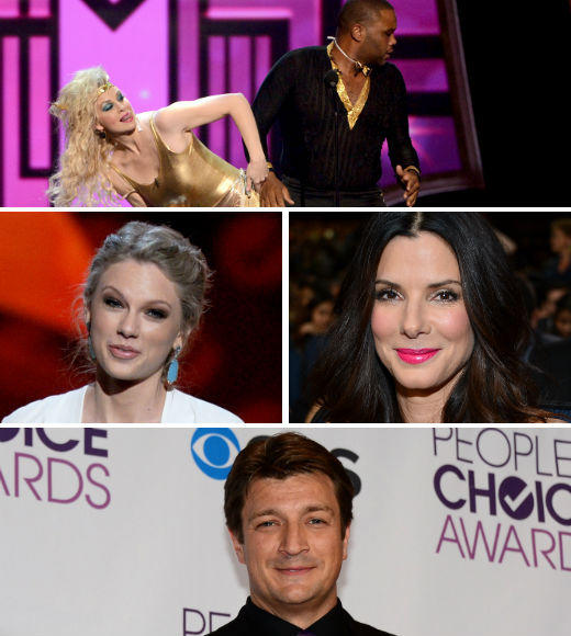 Another year, another People's Choice Award goes down in history. There were big stars from movies (Sandra Bullock! Robert Downey Jr.! Jennifer Lawrence!), music (Taylor Swift! Adam Levine! Alicia Keys!) and TV (Jensen! Jared! Nathan! no last names needed). And Monica Potter and Anthony Anderson did something that will haunt our nightmares for years to come. Click through for all the highlights, and lowlights, of this year's big event.