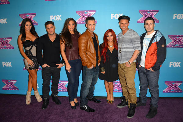 Jersey Shore cast (L-R) Jenni 'Jwoww' Farley Ronnie Ortiz-Magro Sammi 'Sweetheart' Giancola, Mike 'The Situation' Sorrentino, Nicole 'Snooki' Polizzi,Paul 'Pauly D' DelVecchio,Vinny Guadagnino arrive at Fox's 'The X Factor' Season Finale Night 1 at CBS Televison City on December 19, 2012 in Los Angeles, California.