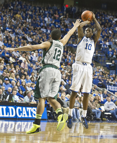 Kentucky guard Archie Goodwin (10), shooting against Eastern Michigan last week, said that having played road games at Notre Dame and Louisville will help prepare the Wildcats for road games in the Southeastern Conference. UK opens up SEC play tonight at Vanderbilt.