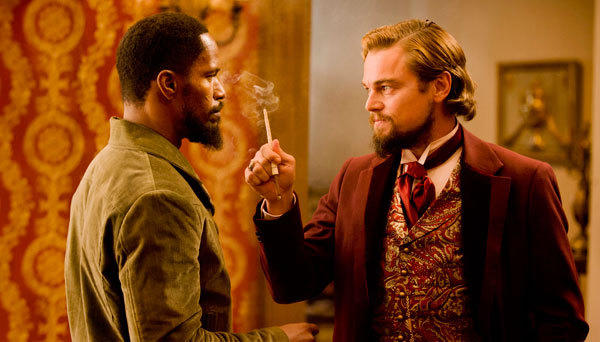"Actors Jamie Foxx (L) and Leonardo DiCaprio are shown in a scene from the film ""Django Unchained"" in this publicity photo."