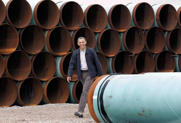 President Obama visits a TransCanada oil pipe yard in Cushing, Okla., in March.