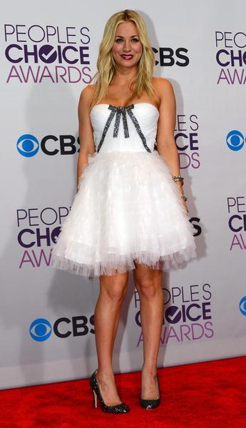 Show host Kaley Cuoco in one of her many outfits of the evening.