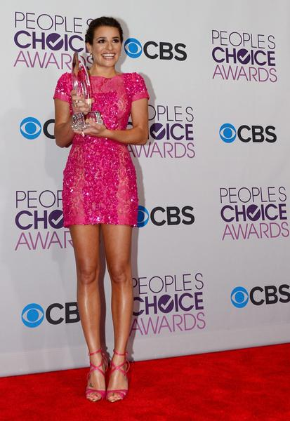 Lea Michele opted for a pink sequin Elie Saab dress with Anita Ko jewels and a Jimmy Choo bag.
