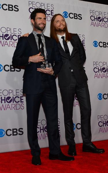 Singer Adam Levine left, and musician James Valentine of Maroon 5.