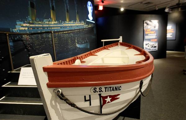 "A replica of a lifeboat from the doomed Titanic is on display at the Mariners Museum in their new exhibit ""Abandon Ship"" which features the various ways people survived disasters at sea."