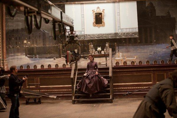 """Kiera Knightly on the set of director Joe Wright's """"Anna Karenina"""""""