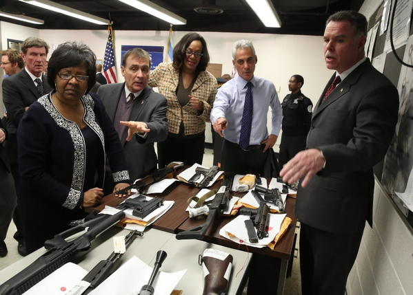 Mayor Rahm Emanuel, seen here with Police Supt. Garry McCarthy at a Tuesday gun news conference, indicated today he'll introduce a new gun control ordinance next week.